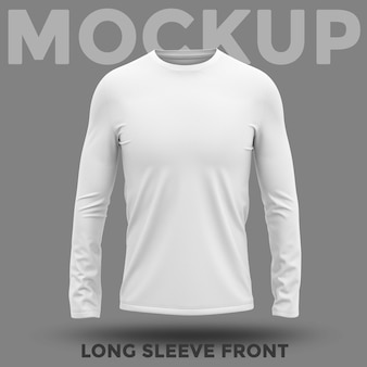 Front view white long sleeves mockup
