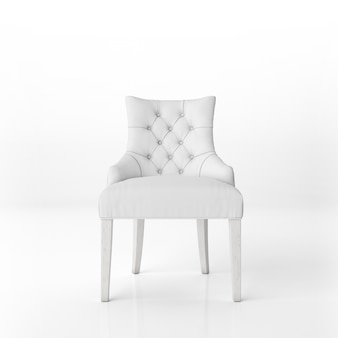Front view of white padded armchair mockup