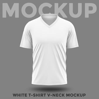 전면보기 흰색 셔츠 v 넥 모형