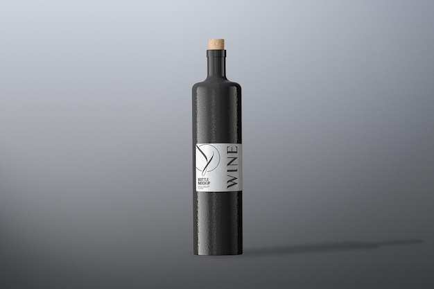 Front view wine bottle mockup