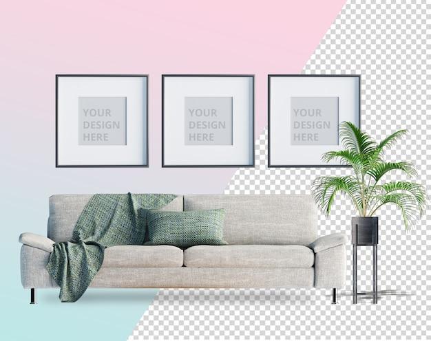 Вид спереди с черным диваном и растением в горшке 3d-рендеринга