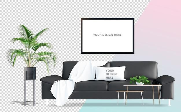 黒いソファと鍋3 dレンダリングの植物の正面図