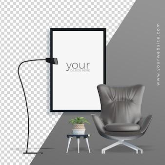 オフィスの椅子と植物の鍋3 dレンダリングの正面図