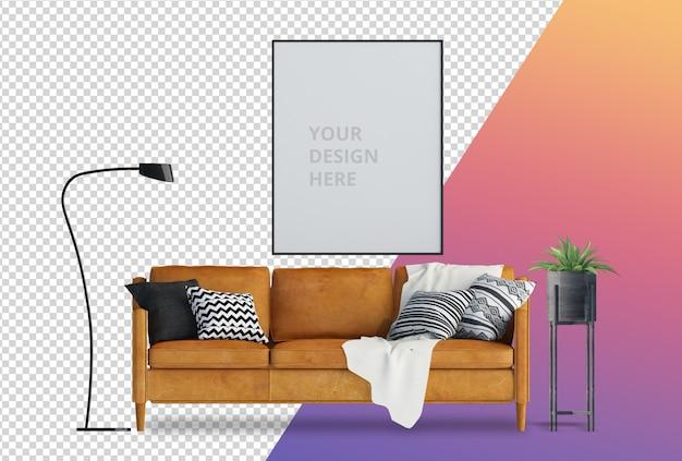 Вид спереди с диваном и растением в горшке 3d-рендеринга