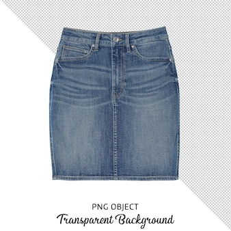 Front view of woman jean skirt isolated