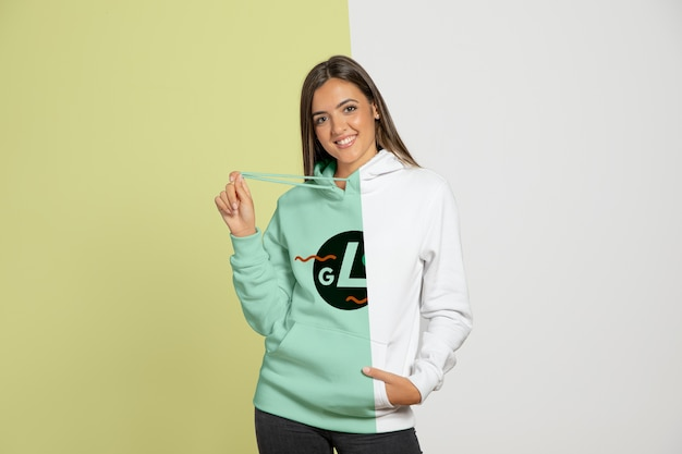 Front view of woman wearing hoodie