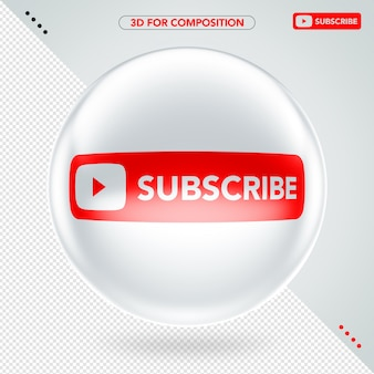 Front white ellipse 3d youtube subscribe