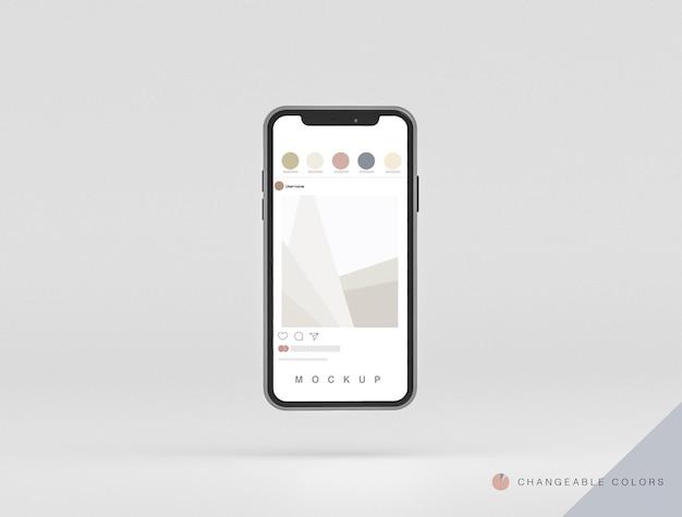Фронтальный минимальный 3d-макет парящего телефона