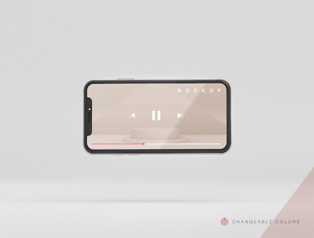 Frontal minimal 3d turned phone with video interface mockup levitating