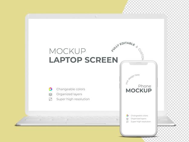 ミニマルなfrontviewノートパソコンの画面と電話のモックアップテンプレート