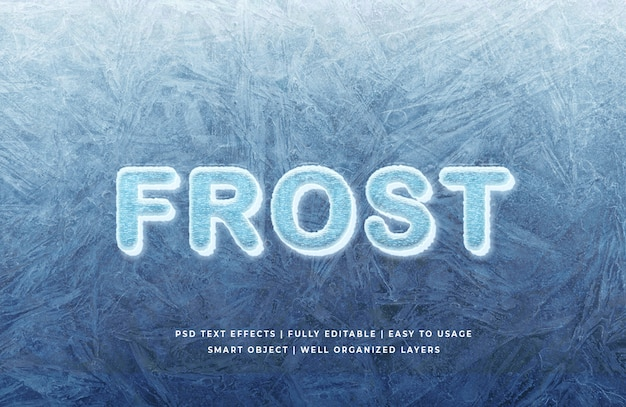 Frost 3d text style effect mockup