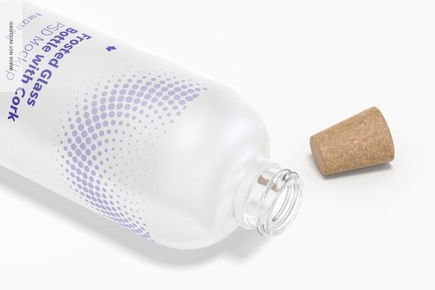 コルクモックアップ、クローズアップと曇らされたガラス瓶