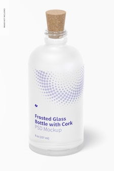 Frosted glass bottle with cork mockup