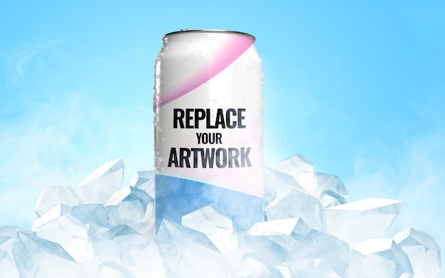 Frozen can ice soda advertising mockup
