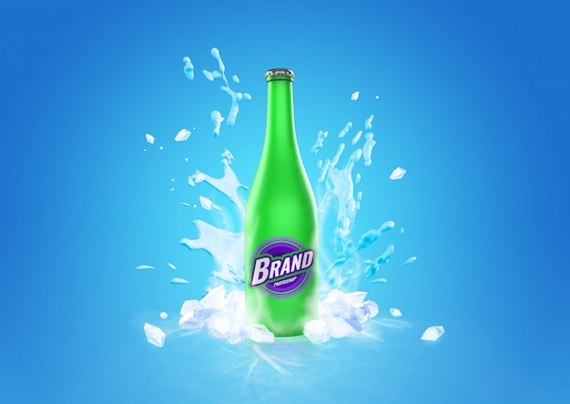 Frozen glass bottle drink splash mockup advertising