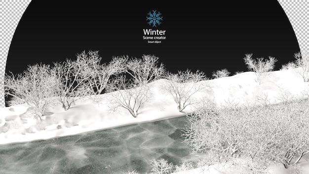 明るい冬に雪に覆われた木々に囲まれた凍った湖さまざまな冬の木々が孤立したクリッピングパスを設計します