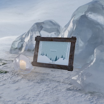 Frozen scene on winter with frame