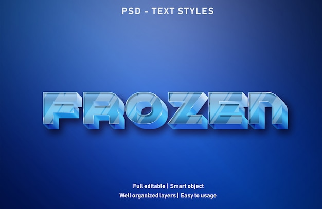 Frozen text effects style editable psd