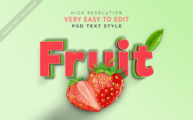 Fruit 3d text style effect strawberry leaf
