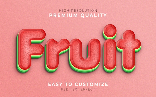 Fruit 3d text style effect template watermelon