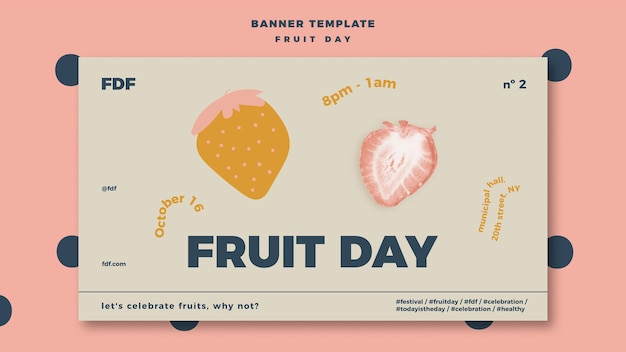 Fruit day banner with illustrations