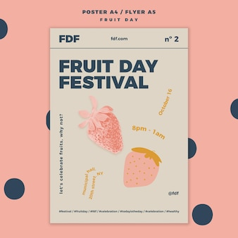 Fruit day flyer template with illustrations