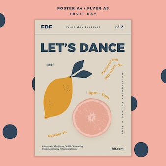 Fruit day flyer template