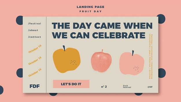 Fruit day landing page with illustration