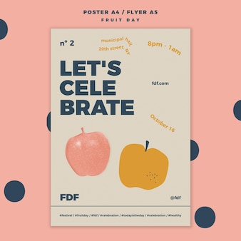 Fruit day poster template with illustrations