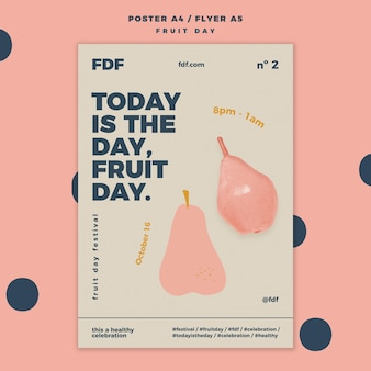 Fruit day poster with illustrations
