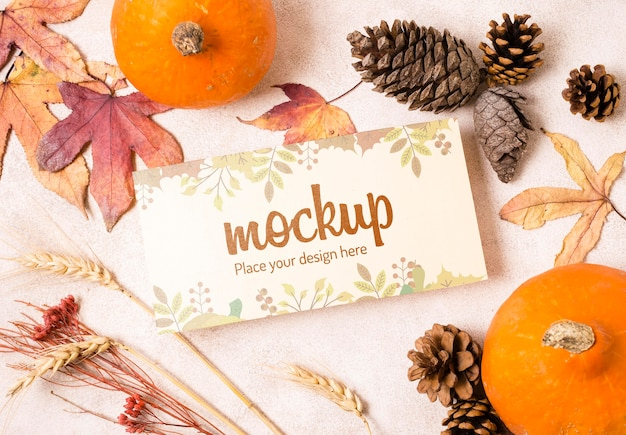 Fruit and dried fall leaves mock-up