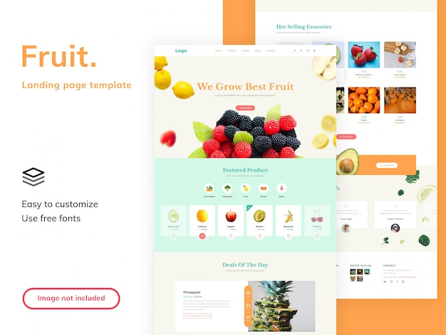 Fruit shop landing page template