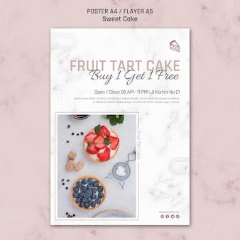 Fruit tart cake poster template