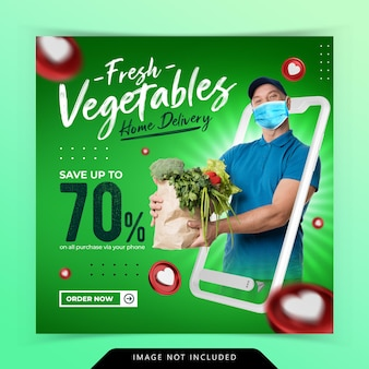 Fruit and vegetable groceries social media instagram template