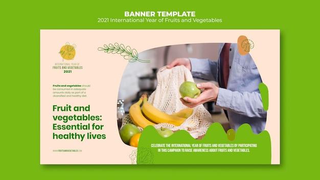 Фрукты и овощи год баннер шаблон
