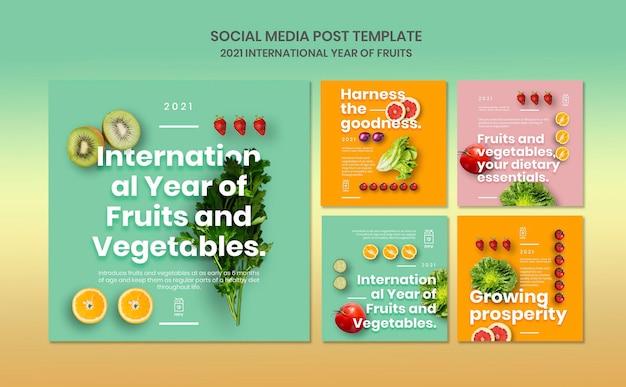 Шаблон постов в instagram с фруктами и овощами