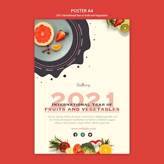 과일 및 야채 년 인쇄 템플릿