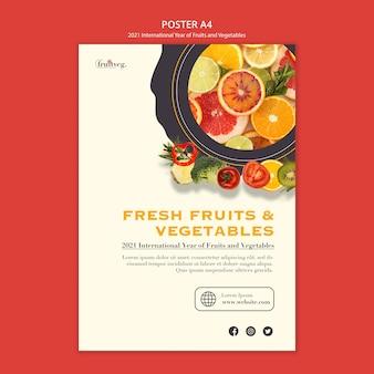 Шаблон печати года фруктов и овощей