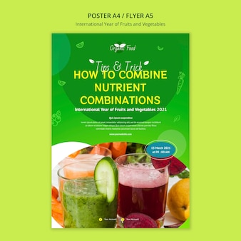 果物と野菜の年の印刷テンプレート 無料 Psd