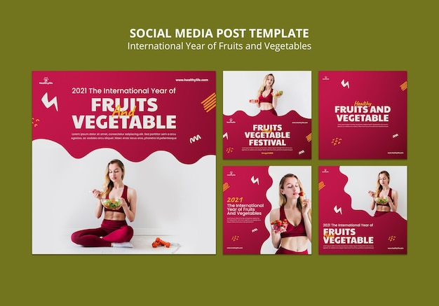 果物と野菜の年のソーシャルメディアの投稿