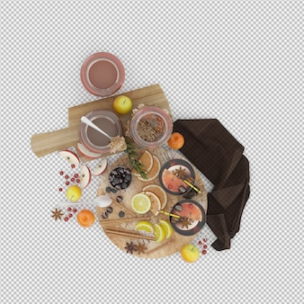 Fruits on cutting board and honey 3d render