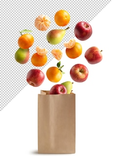 Fruits flying in a recyclable paper bag