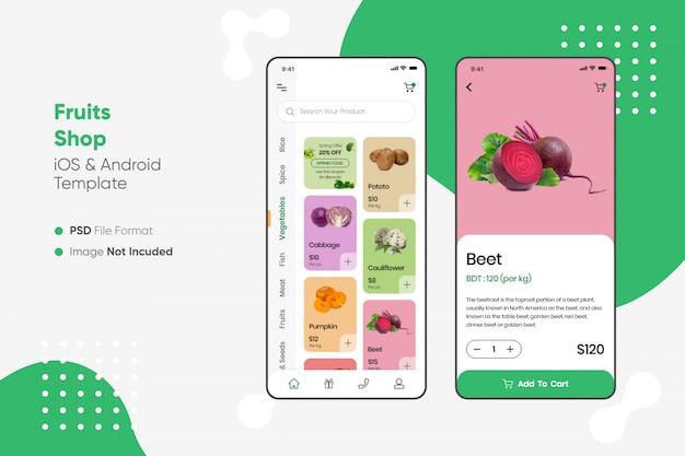 Fruits shop app ui