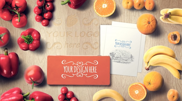 Fruits and vegetables with metal box mockup
