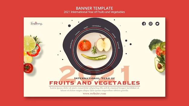 Modello di banner anno di frutta e verdura