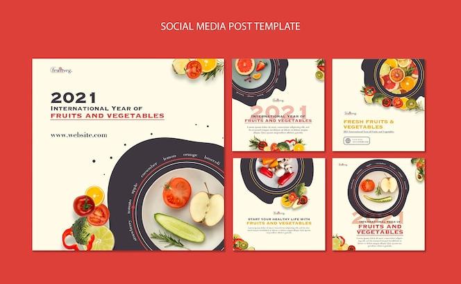 水果和蔬菜年Instagram帖子模板