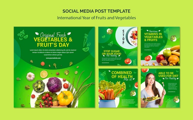 Fruits and vegetables year instagram posts template