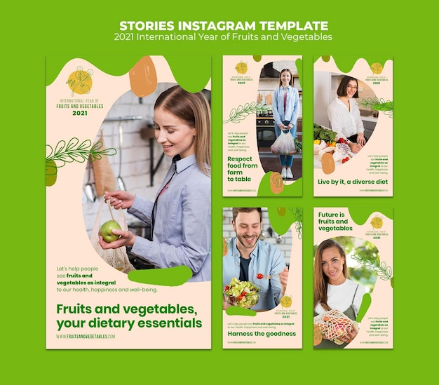 Fruits and vegetables year instagram stories template