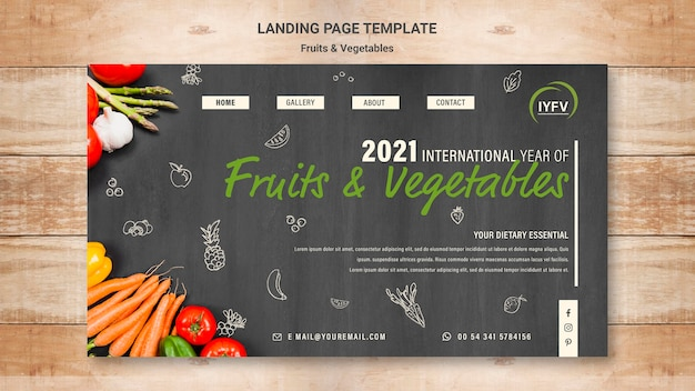 Fruits and vegetables year landing page template