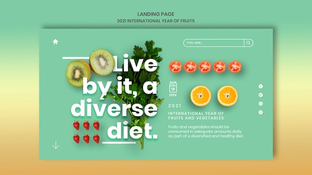 Fruits and vegetables year web template